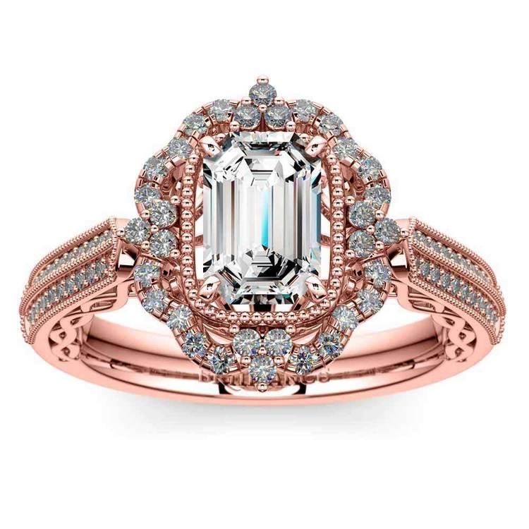 Rose Gold Halo Diamond Engagement Ring (0.75 Carat)   02