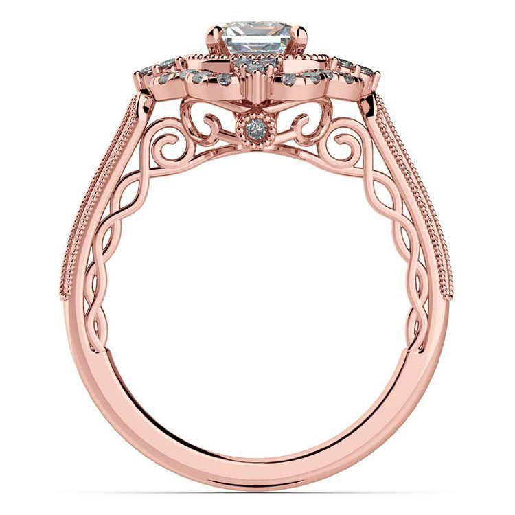 Rose Gold Halo Diamond Engagement Ring (0.75 Carat)   04