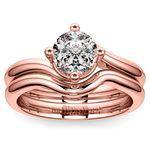 Rose Gold Swirl Diamond Engagement Ring and Wedding Band Set   Thumbnail 01