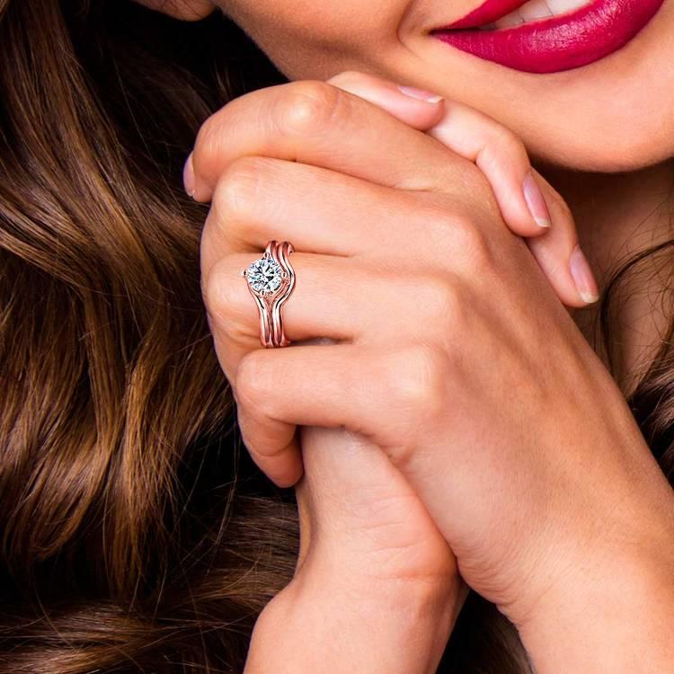 Rose Gold Swirl Diamond Engagement Ring and Wedding Band Set   07