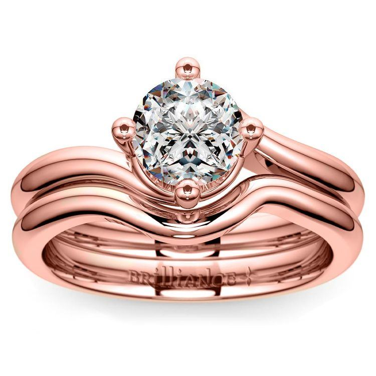 Rose Gold Swirl Diamond Engagement Ring and Wedding Band Set   01