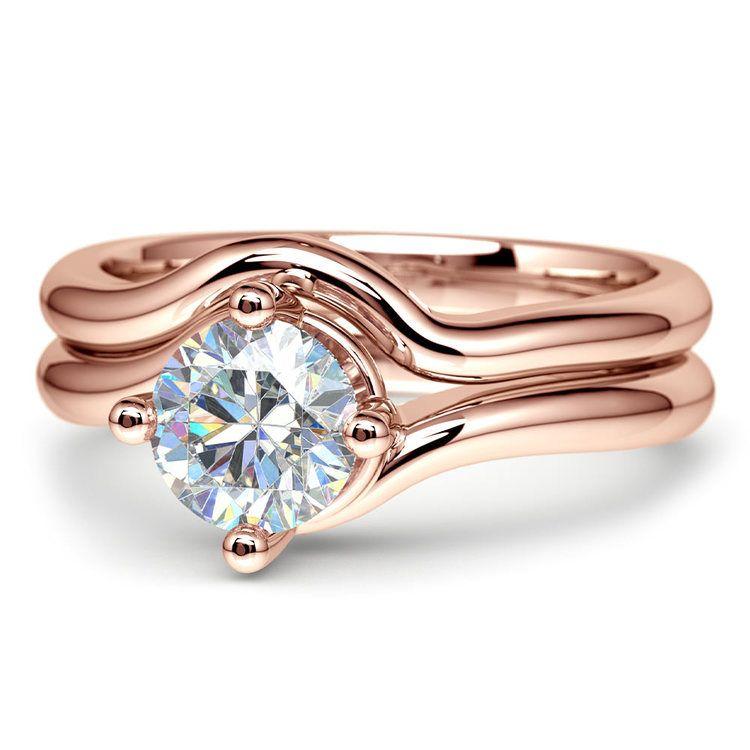 Rose Gold Swirl Diamond Engagement Ring and Wedding Band Set   04