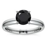 Round Black Diamond Preset Engagement Ring in Platinum (1/4 ctw) | Thumbnail 02