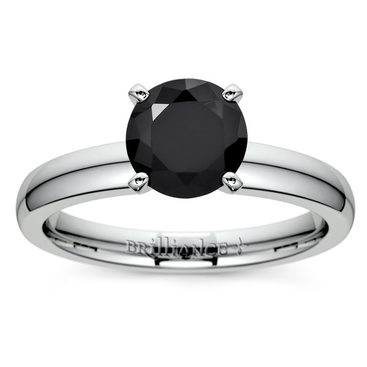 Round Black Diamond Preset Engagement Ring in Platinum (3/4 ctw) | 02