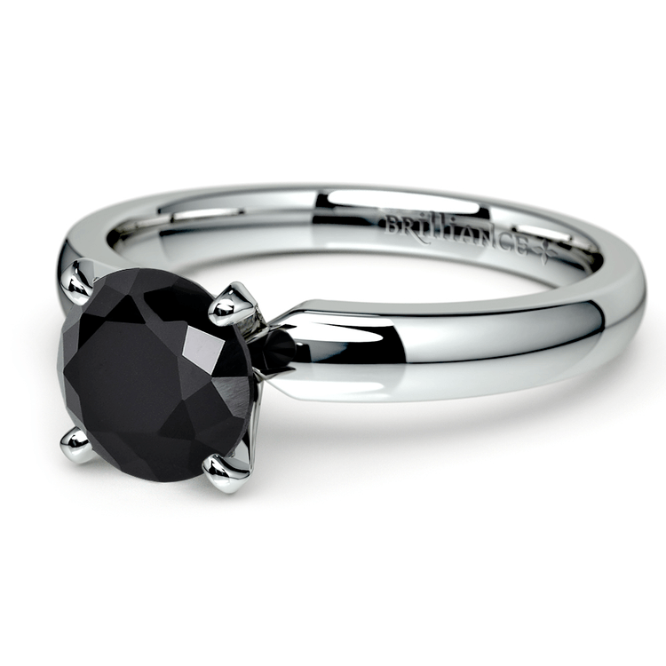 Round Black Diamond Preset Engagement Ring in White Gold (1/3 ctw) | 01