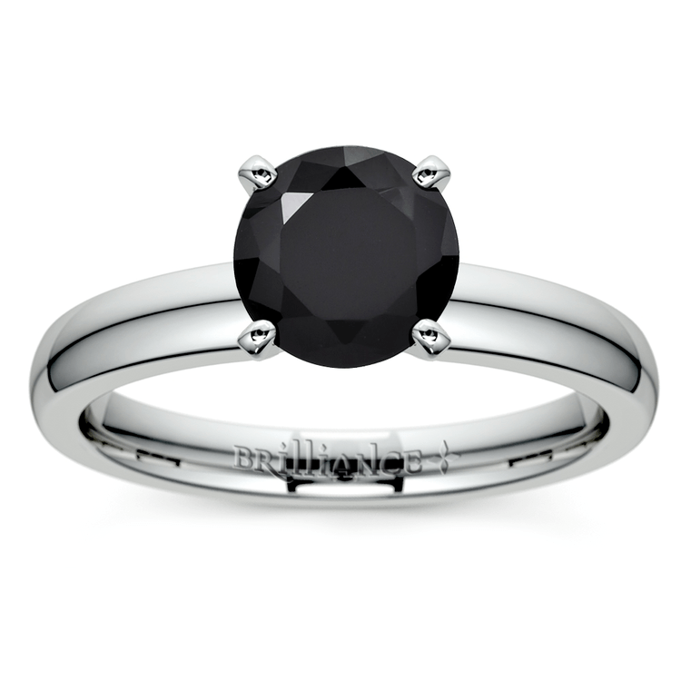 Round Black Diamond Preset Engagement Ring in White Gold (1/3 ctw) | 02