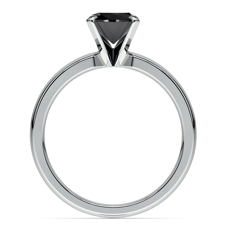 Round Black Diamond Preset Engagement Ring in White Gold (1/3 ctw) | 04