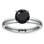 Round Black Diamond Preset Engagement Ring in White Gold (1/4 ctw) | Thumbnail 02
