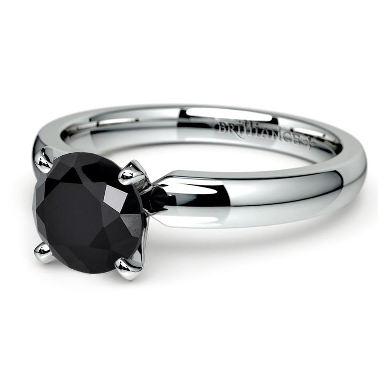 Round Black Diamond Preset Engagement Ring in White Gold (1/4 ctw) | 01