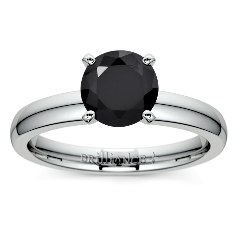 Round Black Diamond Preset Engagement Ring in White Gold (1/4 ctw) | 02