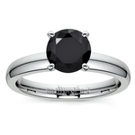 Round Black Diamond Preset Engagement Ring in White Gold (3/4 ctw) | Thumbnail 01
