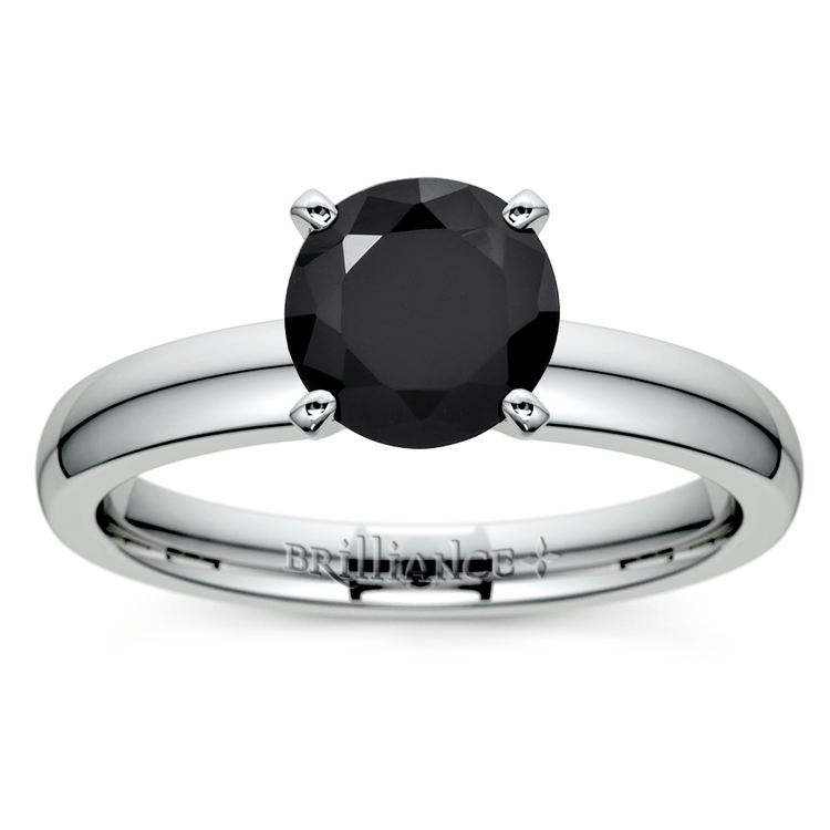 Round Black Diamond Preset Engagement Ring in White Gold (3/4 ctw) | 01