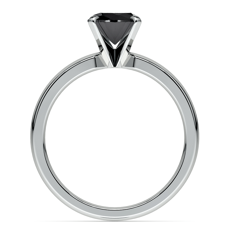 Round Black Diamond Preset Engagement Ring in White Gold (3/4 ctw) | 04