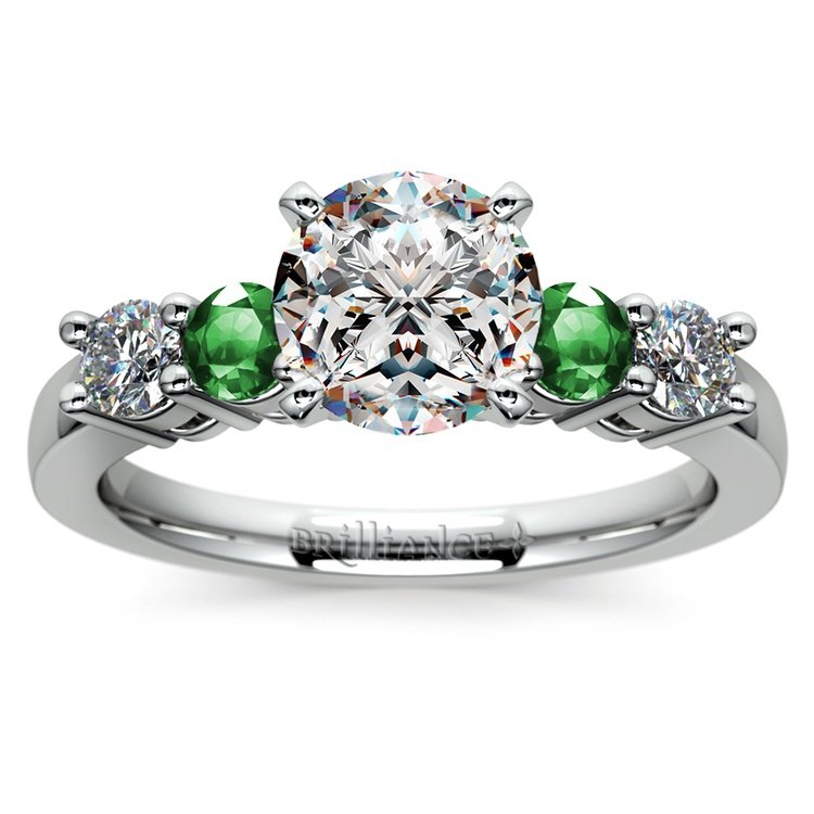 Round Diamond & Emerald Gemstone Engagement Ring in Platinum | 01