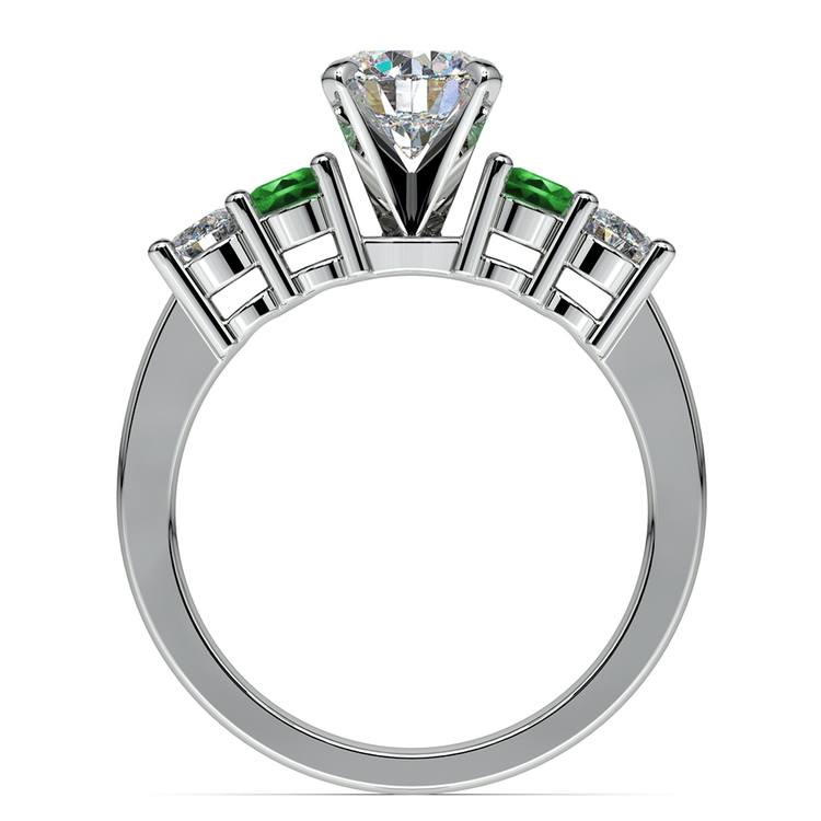 Round Diamond & Emerald Gemstone Engagement Ring in Platinum | 02