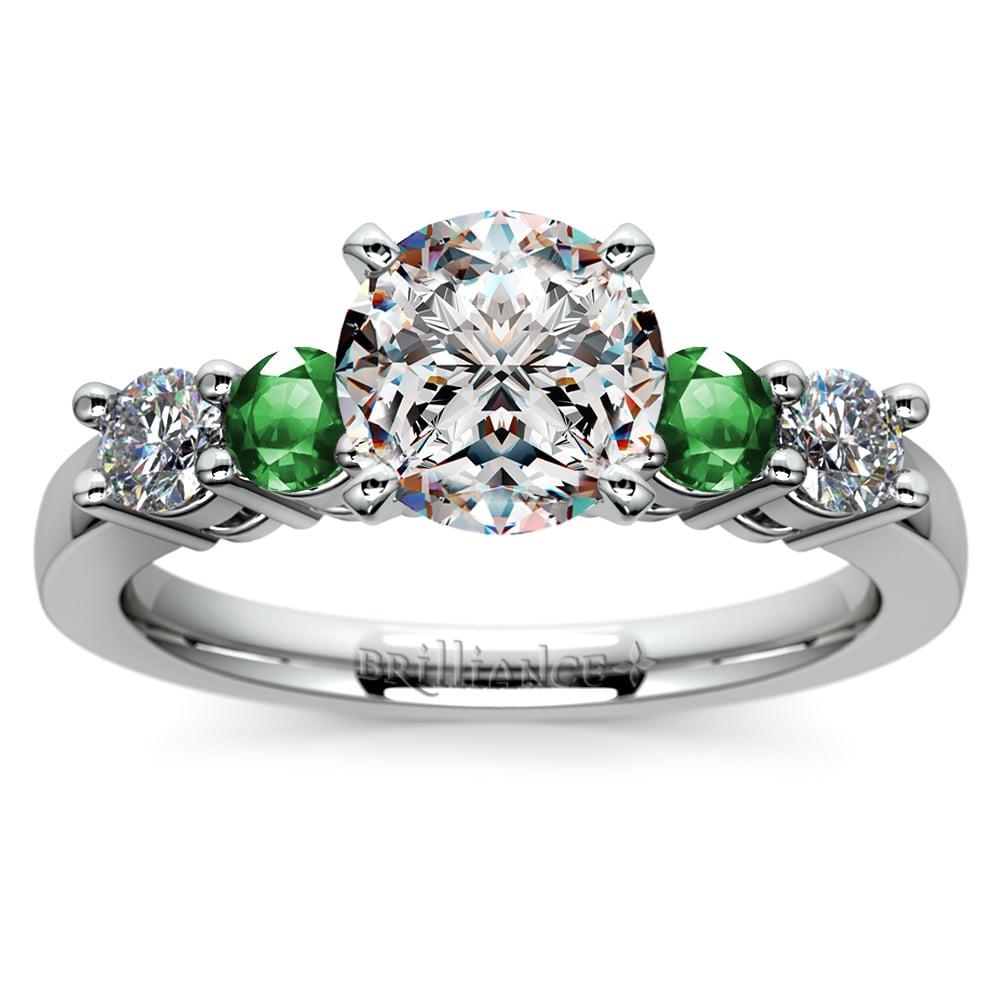 round diamond amp emerald gemstone engagement ring in platinum