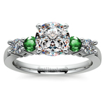 Round Diamond & Emerald Gemstone Engagement Ring in White Gold | Thumbnail 01