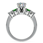 Round Diamond & Emerald Gemstone Engagement Ring in White Gold | Thumbnail 02