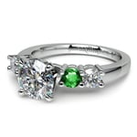 Round Diamond & Emerald Gemstone Engagement Ring in White Gold | Thumbnail 04