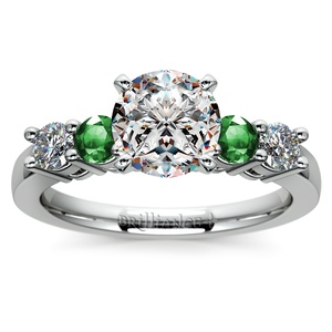 Round Diamond & Emerald Gemstone Engagement Ring in White Gold