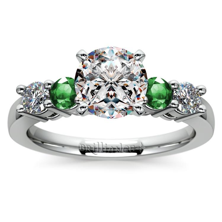 Round Diamond & Emerald Gemstone Engagement Ring in White Gold | 01