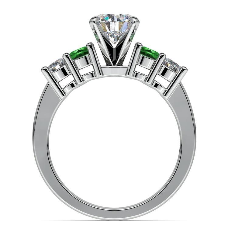 Round Diamond & Emerald Gemstone Engagement Ring in White Gold | 02