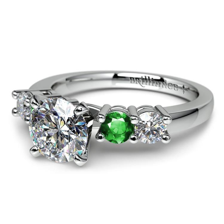 Round Diamond & Emerald Gemstone Engagement Ring in White Gold | 04