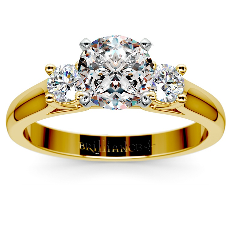 Round Diamond Engagement Ring in Yellow Gold (1/3 ctw) | 01