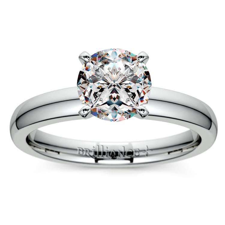 Round Diamond Preset Engagement Ring in White Gold (1 ctw)   02