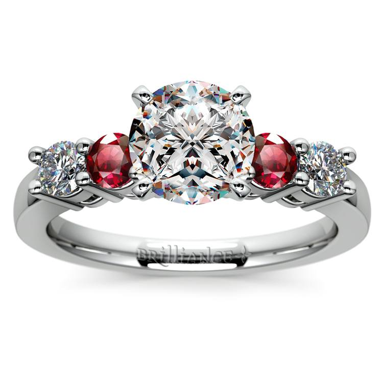 Round Diamond & Ruby Gemstone Engagement Ring in White Gold | 01