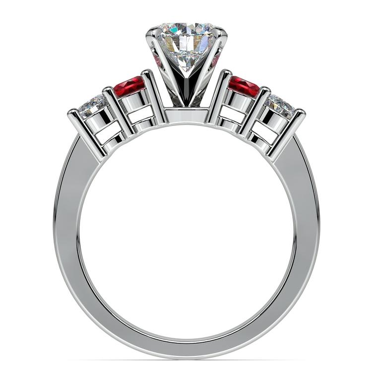 Round Diamond & Ruby Gemstone Engagement Ring in White Gold | 02
