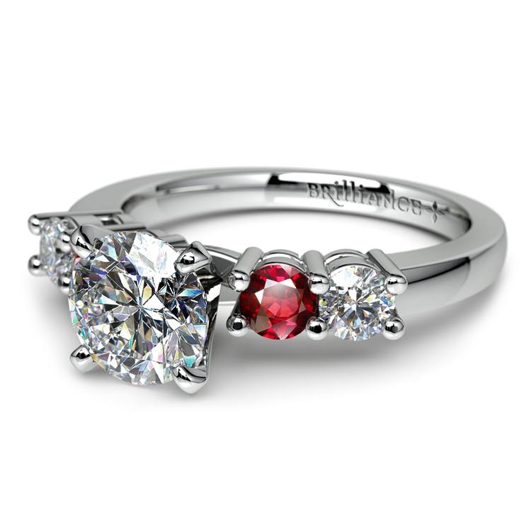 Round Diamond & Ruby Gemstone Engagement Ring in White Gold | 04