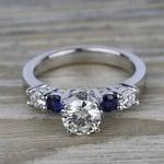 Round Diamond & Sapphire Gemstone Engagement Ring in Platinum | Thumbnail 05