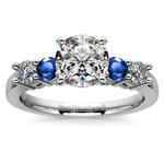 Round Diamond & Sapphire Gemstone Engagement Ring in Platinum | Thumbnail 01