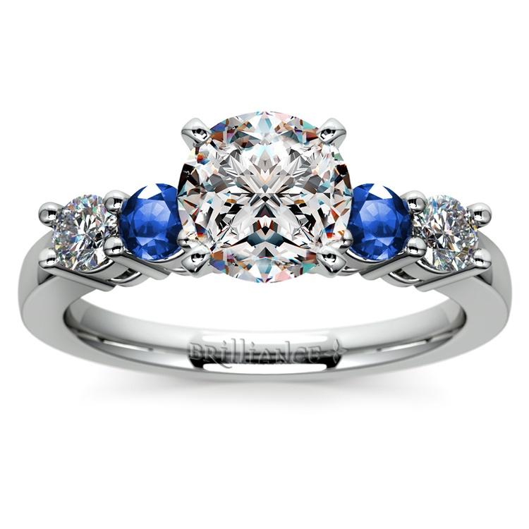 Round Diamond & Sapphire Gemstone Engagement Ring in Platinum | 01
