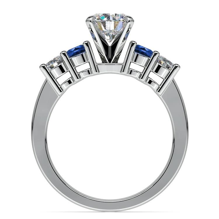 Round Diamond & Sapphire Gemstone Engagement Ring in Platinum | 02