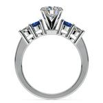 Round Diamond & Sapphire Gemstone Engagement Ring in White Gold  | Thumbnail 02