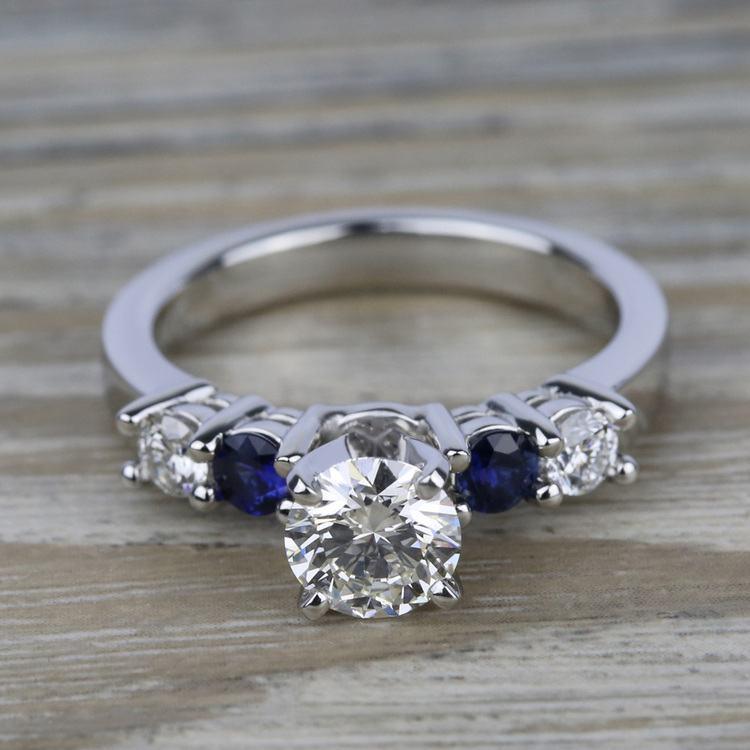 Round Diamond & Sapphire Gemstone Engagement Ring in White Gold  | 05