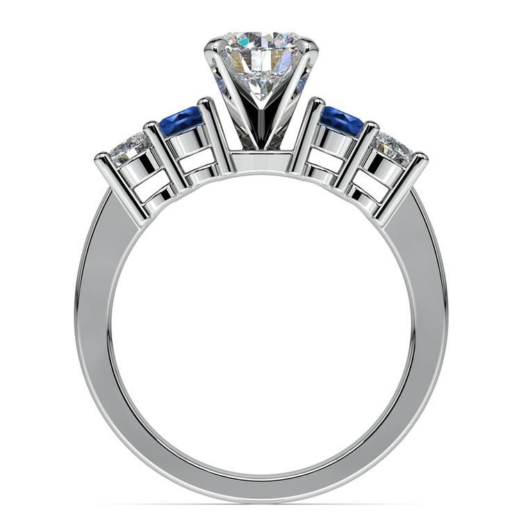 Round Diamond & Sapphire Gemstone Engagement Ring in White Gold  | 02