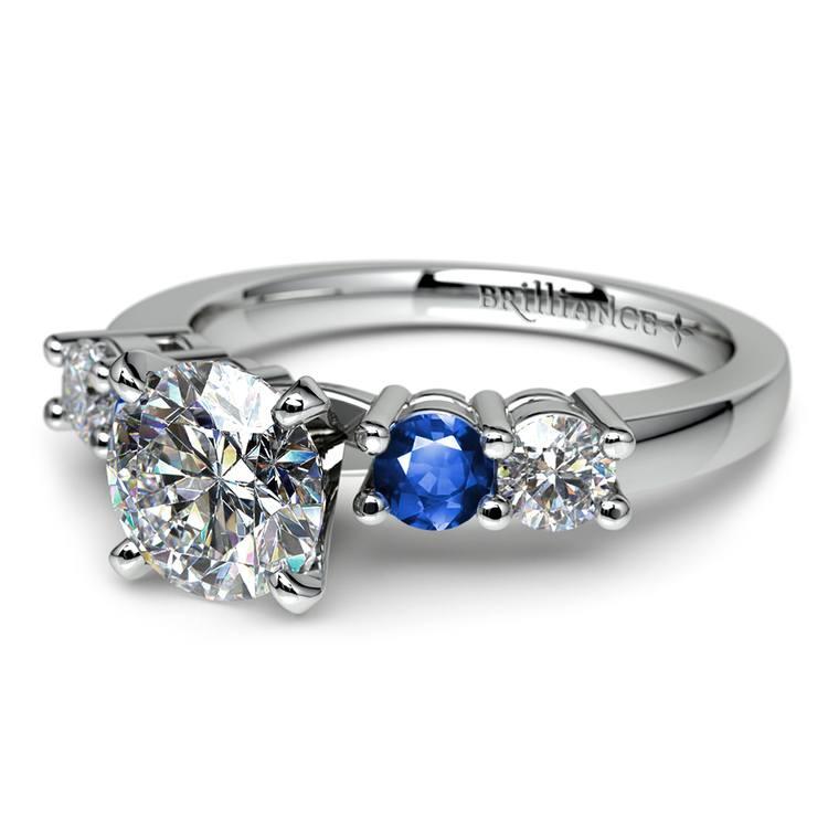 Round Diamond & Sapphire Gemstone Engagement Ring in White Gold  | 04