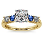 Round Diamond & Sapphire Gemstone Engagement Ring in Yellow Gold | Thumbnail 01
