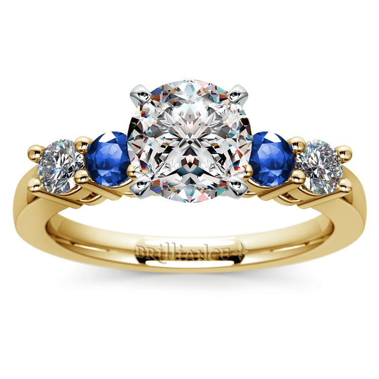 Round Diamond & Sapphire Gemstone Engagement Ring in Yellow Gold | 01
