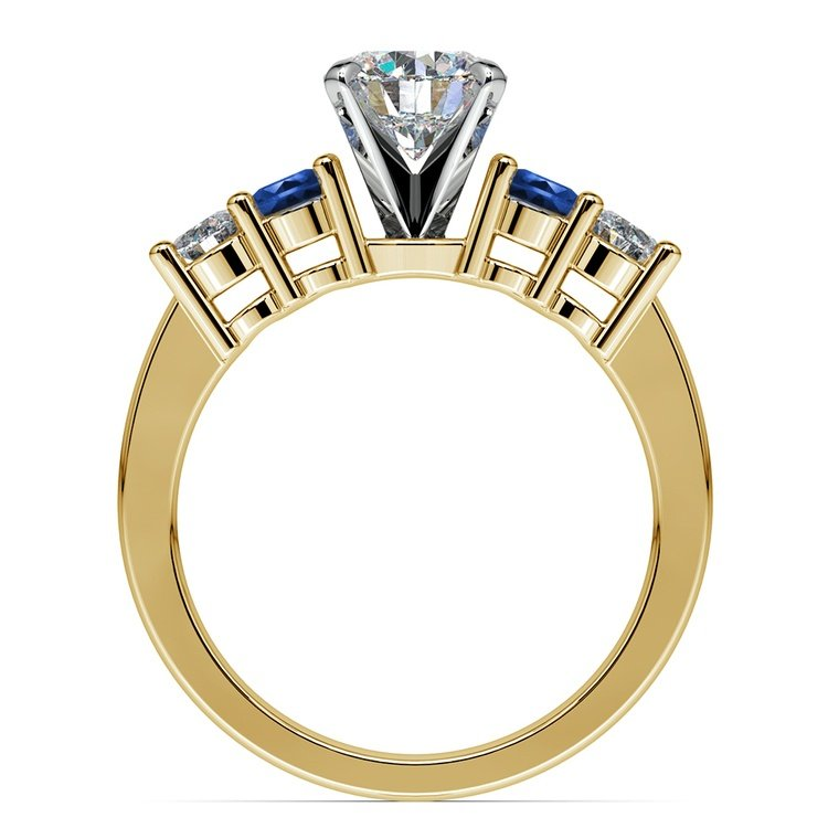 Round Diamond & Sapphire Gemstone Engagement Ring in Yellow Gold | 02