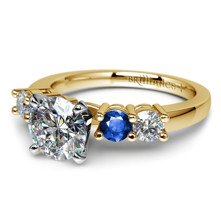 Round Diamond & Sapphire Gemstone Engagement Ring in Yellow Gold | 04