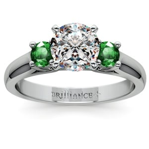 Round Emerald Gemstone Engagement Ring in Platinum