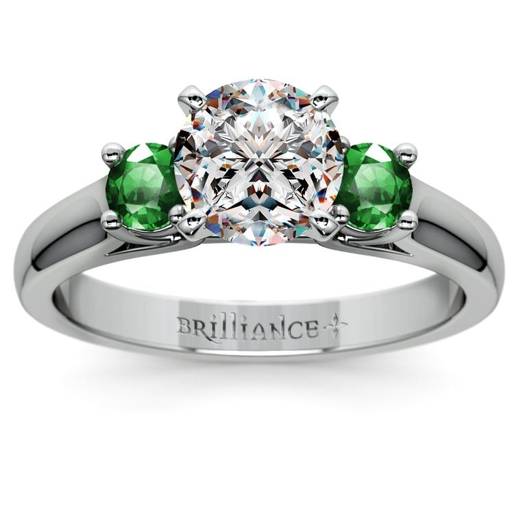 Round Emerald Gemstone Engagement Ring in Platinum | 01