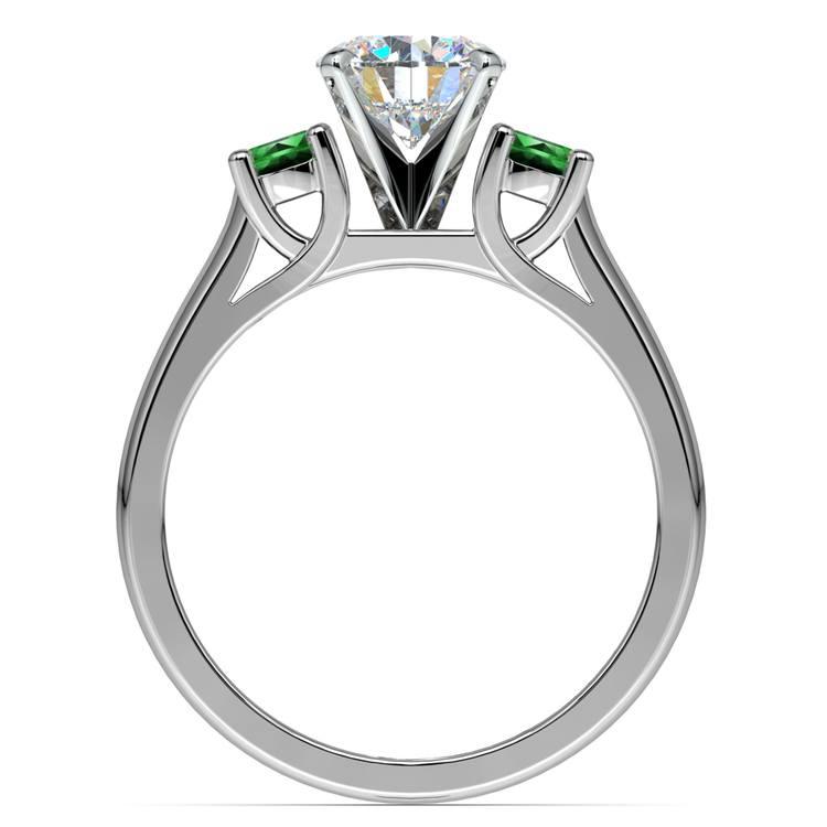 Round Emerald Gemstone Engagement Ring in Platinum | 02