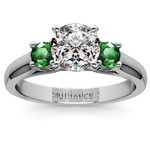 Round Emerald Gemstone Engagement Ring in White Gold | Thumbnail 01