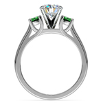 Round Emerald Gemstone Engagement Ring in White Gold | Thumbnail 02