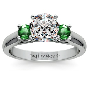 Round Emerald Gemstone Engagement Ring in White Gold